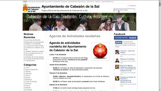 Portada de la página oficial del Ayuntamiento de Cabezón de la Sal