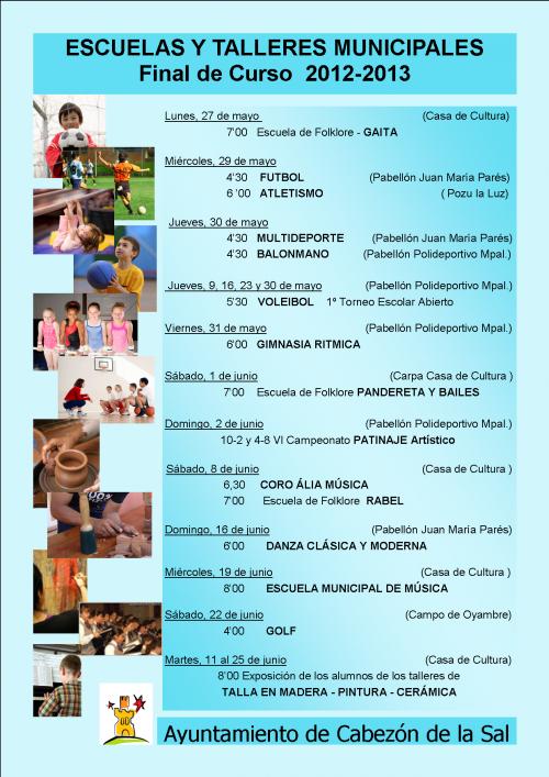 Cartel de la clausura de las escuelas municipales de Cabezón de la Sal