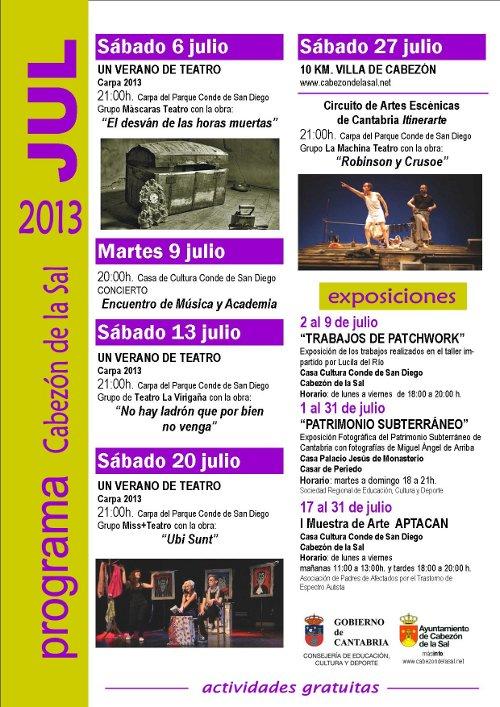 Programa de actividades del mes de julio en Cabezón de la Sal