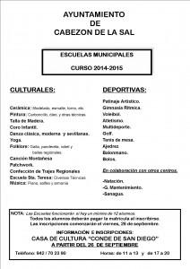 ESCUELAS MUNICIPALEScartel actividades14-15