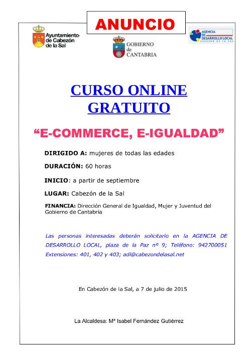 Anuncio Curso E-commerce y e-igualdad
