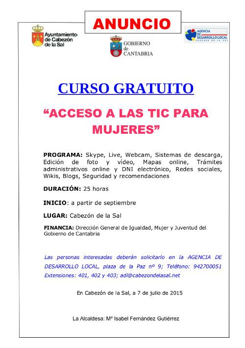 """Anuncio Curso Miruella """"Acceso a las tic para mujeres"""""""