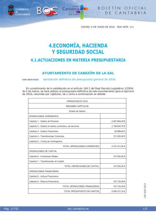 Aprobación presupuesto 2016