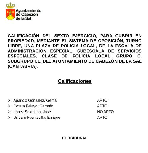 Calificación de sexto ejercicio