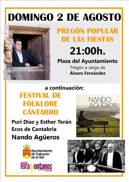 Cartel pregón popular y festival de folklore Cantabro